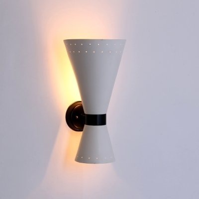 Raak Amsterdam Diabolo sconce with black white metal perforated shade, 1950s
