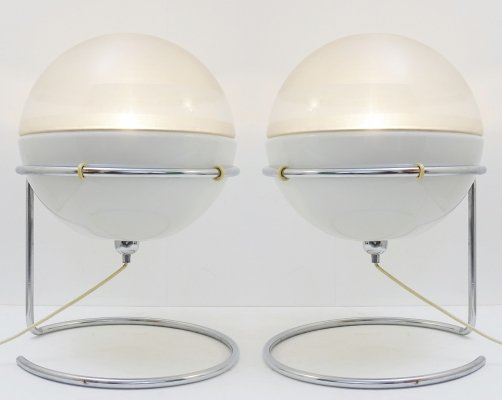 Pair of 'Focus' Table Lamps by Fabio Lenci for Guzzini, Italy 1968