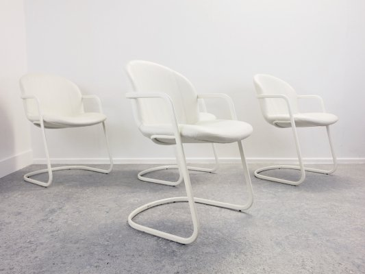 4 Italian design white chairs by Gastone Rinaldi for Thema Italy, 1980's