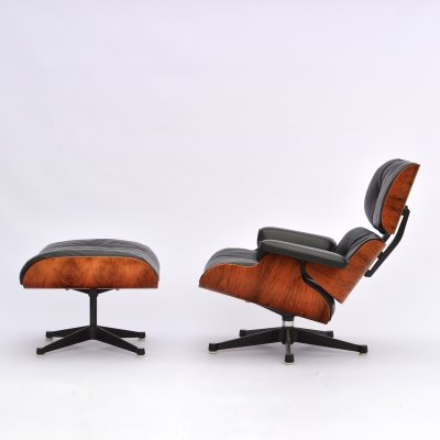 Eames Lounge Chair + Ottoman in Rosewood & Duck Down Cushions by Herman Miller, 1969