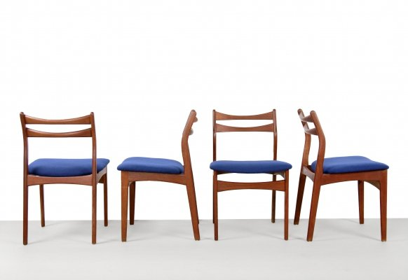 Teak with blue wool fabric danish design chairs by Erik Buck