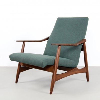 Vintage teak & green fabric Danish design armchair, 1950s