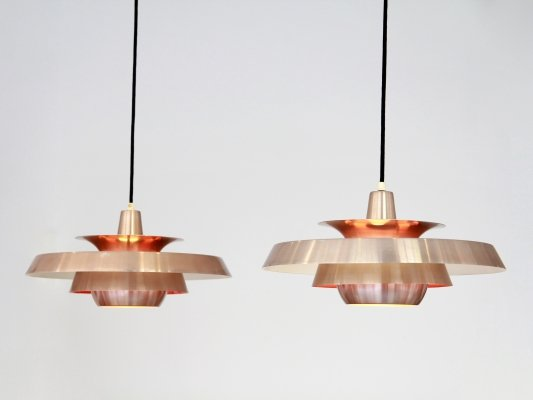 Set of 2 copper Danish design lamps