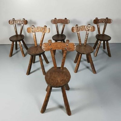 Set of 6 Vintage brutalist sculptured oak chairs