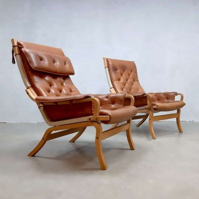 Pair of Scandinavian vintage design lounge chairs by Bruno Mathsson, 1950s