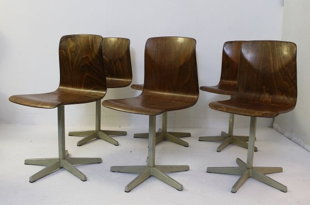 Set of 6 'Pagholz' School chairs by Elmar Flöttoto, Germany 1960s
