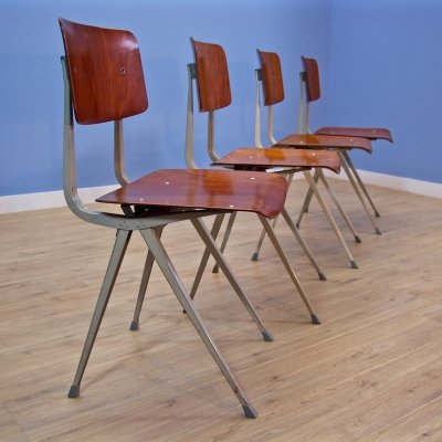 Set of 4 Result chairs by Friso Kramer for Ahrend de Cirkel, 1970s
