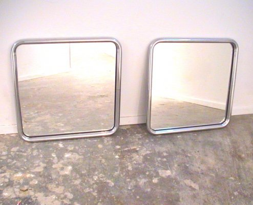 Pair of 1970s modernist mirrors with chromed tubular frames