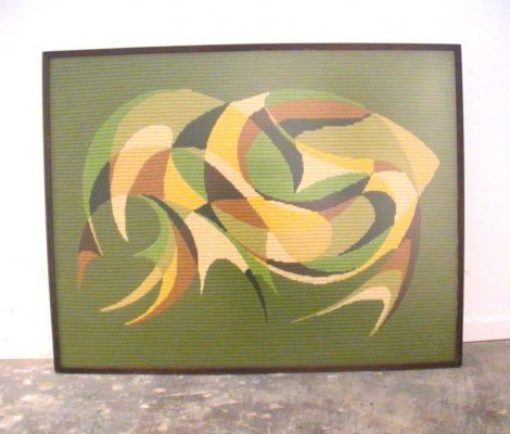 Mid-Century Abstract Flat Weave Framed Wall Hanging