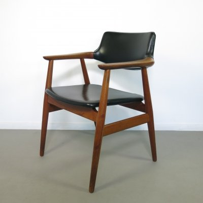 Teak desk armchair by Glostrup with black skai upholstery, 1960's