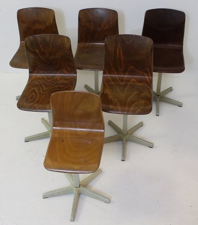 Set of 6 'Pagholz' Children's School Chairs by Elmar Flöttoto, Germany 1960s