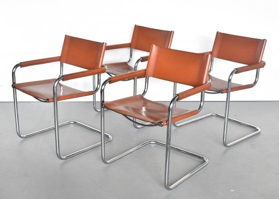 Set of 4 S34 dining chairs by Marcel Breuer for Fasem, 1970s