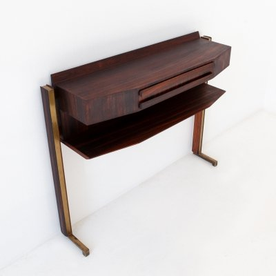 Italian Rosewood & Brass Console Table, 1950s