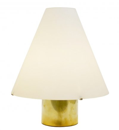 Italian Table Lamp With Cone Opal Glass Shade