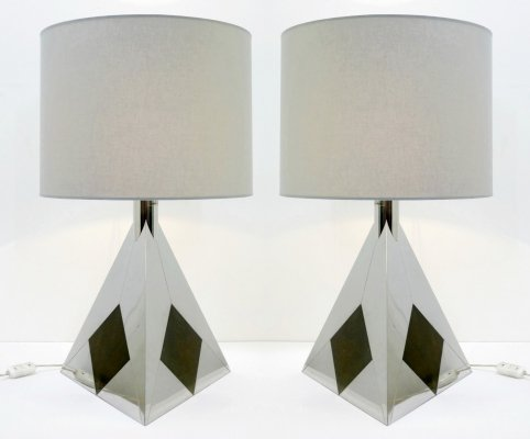 Pair Of Chrome Pyramid Table Lamps By Willy Rizzo