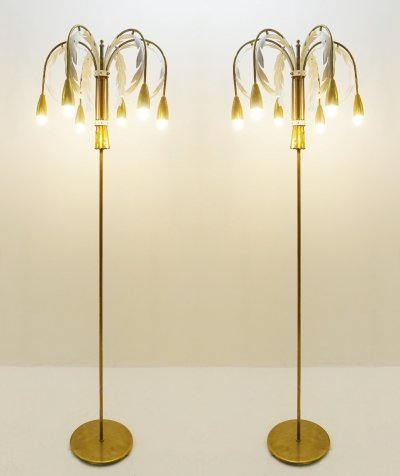 Pair of palm floor lamp, 1970s