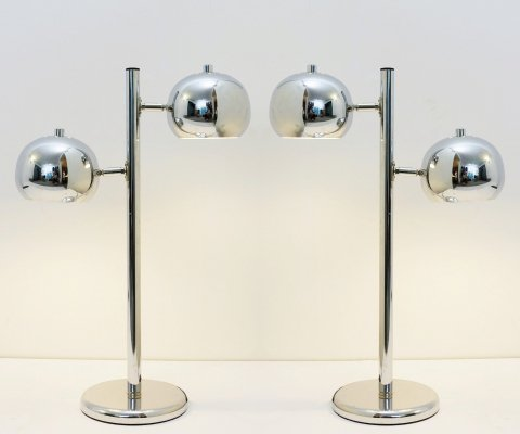 Pair Of Double Headed Chrome Table Lamps
