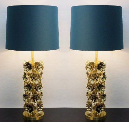Pair Of Flowers Table Lamps In Gilded Bronze, Italy 1960s