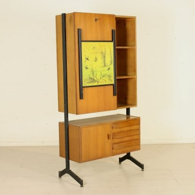 Cabinet with Drop Leaf Desk, 1960s