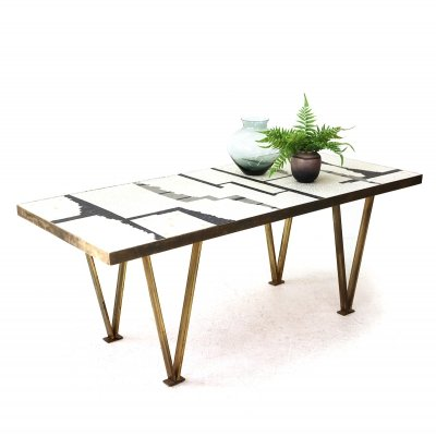 Brass Coffee Table with Tile Mosaic, 1960s