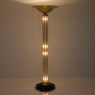 French Halogen Torchiere Floor Lamp, 1980s