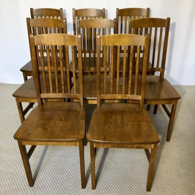 Set of 8 Vintage Birch Dining Chairs, Latvia 1990s