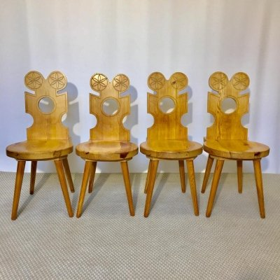 Set of 4 Mid-Century Swedish Pine Chairs, 1950s