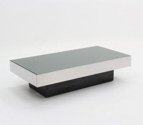 Willy Rizzo mirrored glass coffee table, 1970s