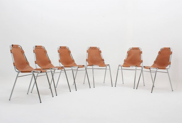 Set of 6 rare Les Arcs dining chairs by Charlotte Perriand, 1950s