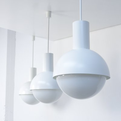 Lot of 14 Amazing XL White Pendant Lamps by Glashütte Limburg, 1970s
