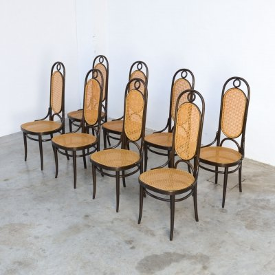 Set of 8 Bentwood 'Mod. 207R - Long John' Dining Chairs by Thonet, 1970s