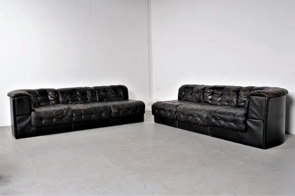 Black leather DS11 seating group by De Sede, 1960s