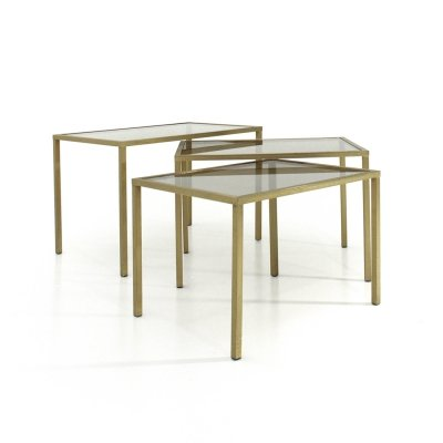 Set of 3 Italian nesting tables in brass & glass, 1970s