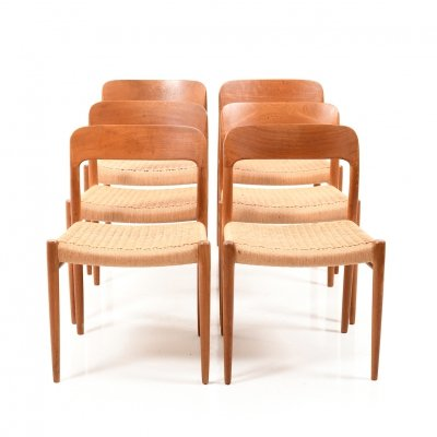 Set of 6 'Model 75' Dining Chairs by Niels O. Moller