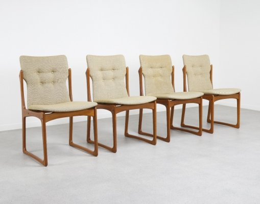 Set of 4 sculptural Danish dining chairs in teak by Vamdrup Stolefabrik, 1960s