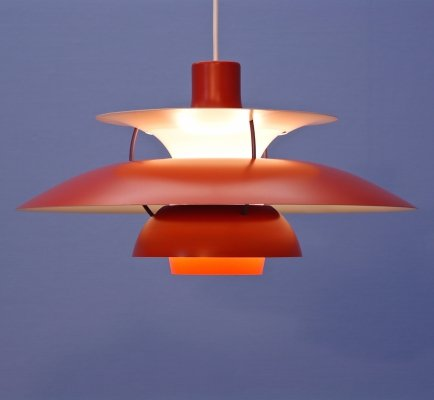 PH5 pendant in red by Poul Henningsen for Louis Poulsen, 1960s