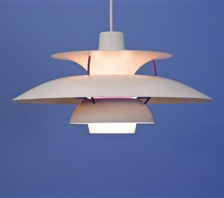 PH5 pendant in white by Poul Henningsen for Louis Poulsen, 1960s