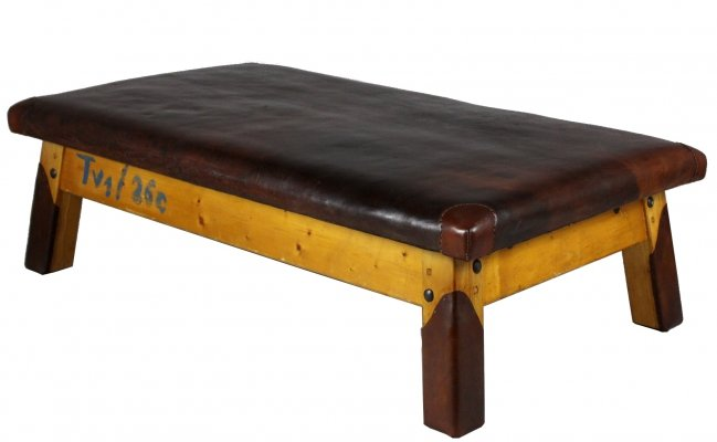 1930s Leather Gym Daybed / Bench