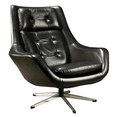 Black Leather Swivel Armchair by Henry Walter Klein
