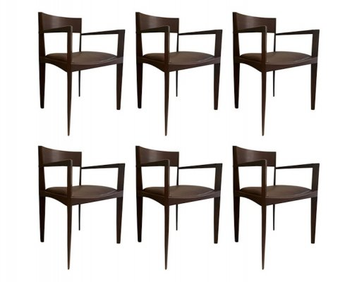 Set of six Italian dining chairs, 1950s