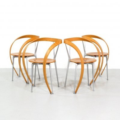 Set of 4 Revers dining chairs by Andrea Branzi for Cassina, 1990s
