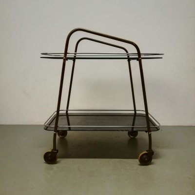 Art-Deco trolley with black glass