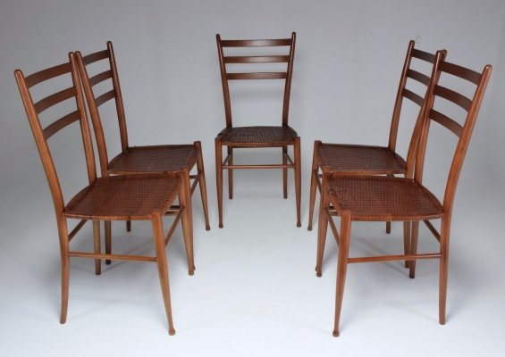 Set of 5 French Vintage Cane Dining Chairs, 1930's