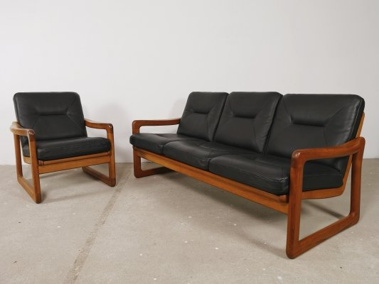Black leather & teak Danish sofa & chair by Holstebro Möbelfabrik