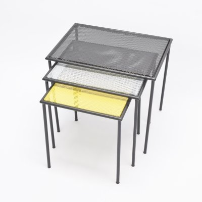 Set of 3 nesting tables by Mathieu Matégot for Artimeta, 1950s