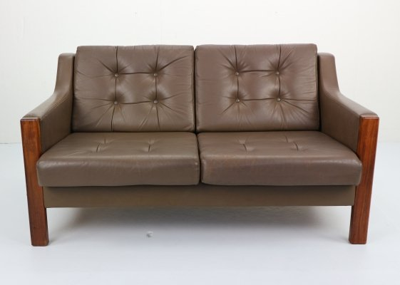 Scandinavian Leather & Rosewood Two Seater Sofa, 1970's