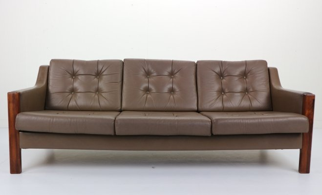 Scandinavian Leather & Rosewood Three Seater Sofa, 1970's