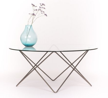 Vintage 'atomic' shaped metal frame coffee table with glass top