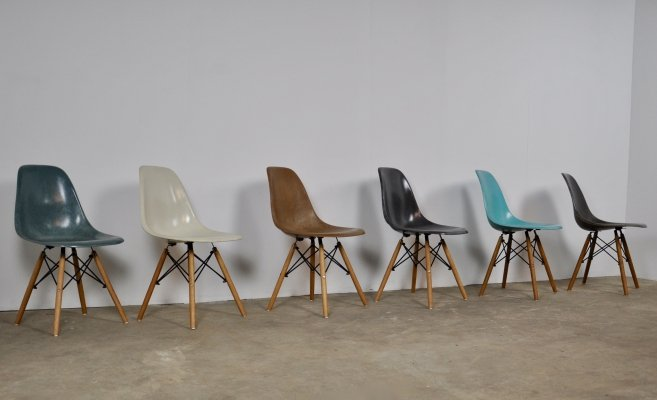 Set of 6 DSW Chairs by Charles & Ray Eames for Herman Miller, 1970s