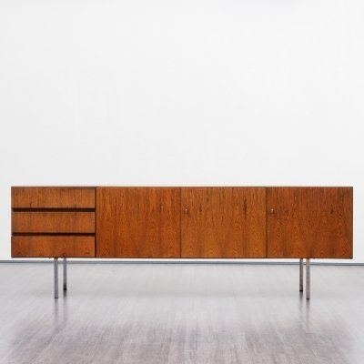 High quality 1970s rosewood sideboard with chrome feet